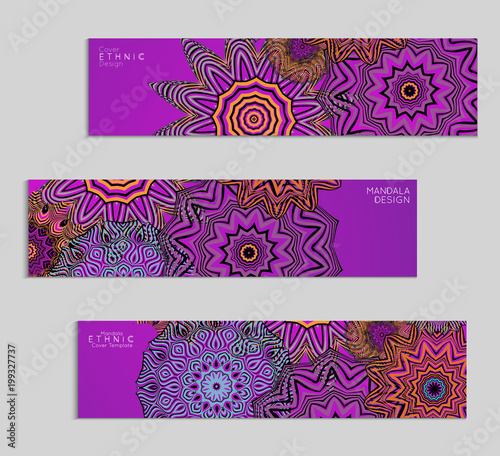 ethnic banners template with floral mandala ornament fotolia com の