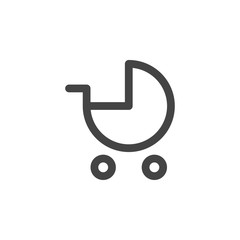 Baby carriage flat vector icon