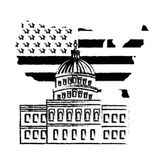 united states capitol building in washington flag on map vector illustration sketch
