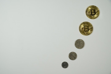 Bitcoins and New Virtual money concept. Gold coins for business sell and trade. Bit coin Mining or block chain technology for crypto currency. Modern electronic money for virtual exchange.