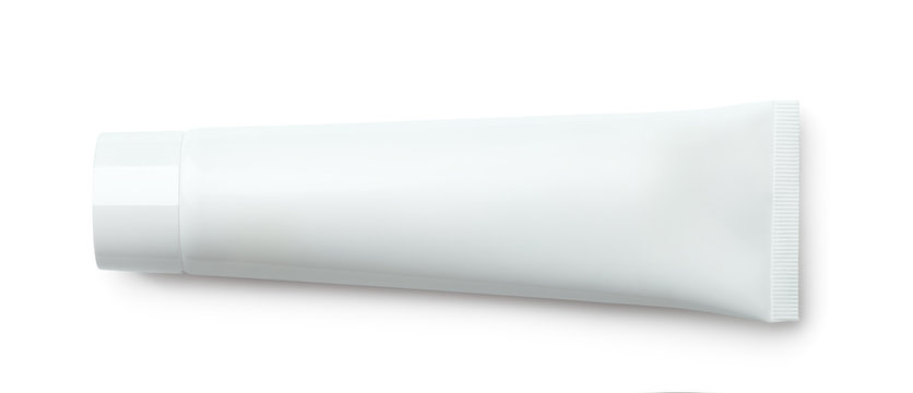 Top view of blank plastic cosmetic tube