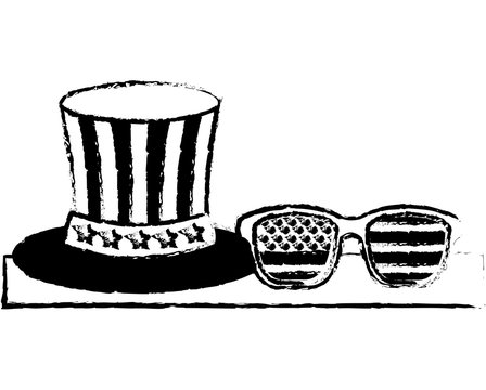 gentleman hat and sunglasses with american flag vector illustration sketch