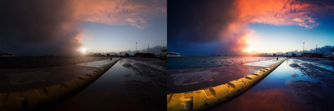 Before and after example of photo editing process, color correction, brightness and saturation of a sunset at the harbor