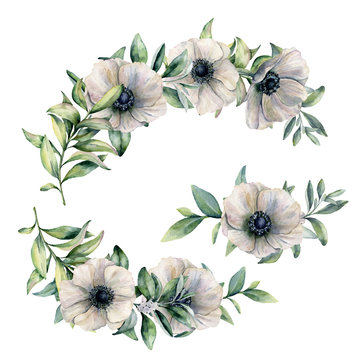 Watercolor floral composition with anemone. Hand painted white flowers and eucalyptus leaves isolated on white background. Botanical illustration for design, print, fabric or background.