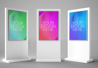 3 Interactive Kiosks Mockup