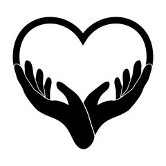 Heart from hand icon. Vector elements, symbol of love and health. Vector illustration