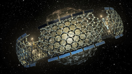 3D Illustration of an outer space honeycomb structure
