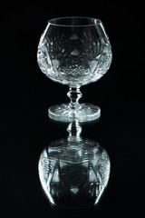 Crystal glass on a black background