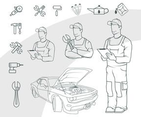 Set of Auto service logo. Сar repair shop. Auto workshop. Car mechanic. Auto master.