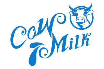 Milk logo. Healthy drink. Lettering. Milk is a nutritious liquid. Ecologically pure natural cow milk and dairy products.