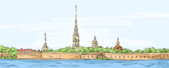 Peter and Paul Fortress. Symbol of Saint Petersburg, Russia.
