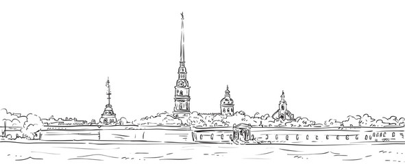 Peter and Paul Fortress. Symbol of Saint Petersburg, Russia. Hand drawn vector illustration.