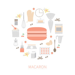 Vector set of ingredients and tools for cooking French pastry macaron.