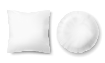 Vector 3d realistic comfortable pillows - square, round. Template, mock up of white fluffy cushion for relaxation, sleep, nap, bedding, rest.