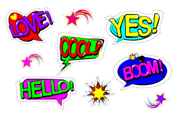 Set patch comic badges. Hand drawn vector cartoon funny pop art stickers. Modern doodle sketch and inscriptions. HELLO, YES, LOVE, BOOM, COOL. Isolated on white background. Vector