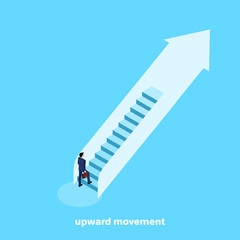 a man in a business suit rises up the escalator stairs, isometric image