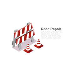 road repair, vector illustration on white background, isometric 3d signs, pattern reconstruction, vector cones, low poly.