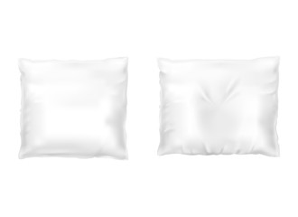 Vector realistic set of white square pillows, comfortable, soft, clean and crumpled, top view isolated on background. Object for sweet dreams in bedroom, mockup with blank cushions for your design