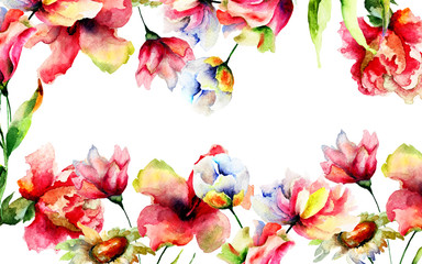 Template for greeting card with Stylized flowers