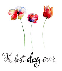 Stylized flowers with title the best day ever