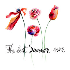 Tulips and Roses flowers  with title the best summer ever