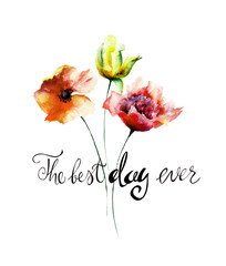 Poppy, Peony and Tulip flowers with title the best day ever