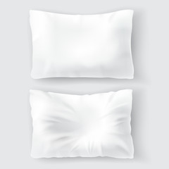 Vector realistic set with blank white pillows, comfortable, soft, clean and crumpled, top view isolated on background. Object for sweet dreams in bedroom, mockup with cushions for brand advertising