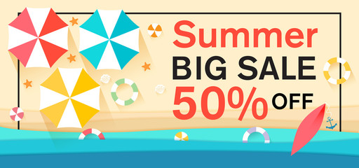 Summer sale with sun umbrellas on background. Vector illustration template for banners, wallpaper, flyers, invitation, posters, brochure, voucher discount.Paper cut and craft style