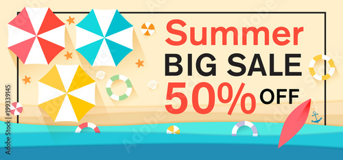 Summer Sale With Sun Umbrellas On Background Vector Illustration Template For Banners Wallpaper