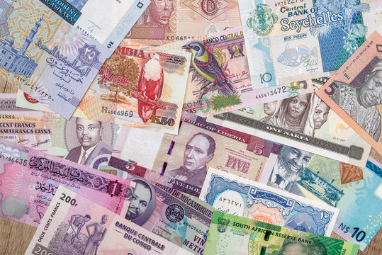 various money of African countries. close up
