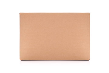 Cardboard mail box isolated on a white background.