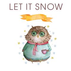 Watercolor owl Winter Owl Aquarelle Bird