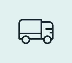 Truck icon line isolated on clean background. Van concept drawing icon line in modern style. Vector illustration for your web site mobile logo app UI design.