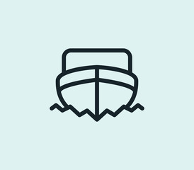 Boat icon line isolated on clean background. Ship concept drawing icon line in modern style. Vector illustration for your web site mobile logo app UI design.