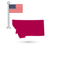 Map of the U.S. state of Montana on a white background. American flag