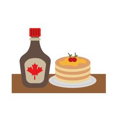 pancake with bottle syrup maple vector illustration design