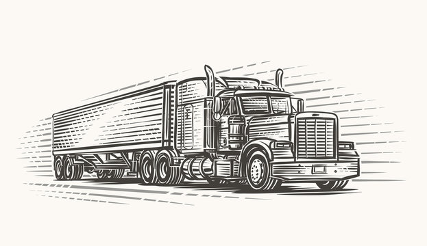 American Truck on road hand drawn illustration. Vector.
