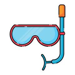 snorkel mask icon over white background, colorful design.  vector illustration