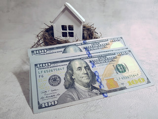 Buying, selling a house, a white house in a nest on the background of dollars. Your house is an investment.