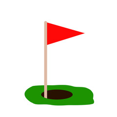golf red flag on green grass and hole. Isolated on white background. Flat vector. Sport concept. Goal achievement sign.