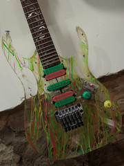 """The body of an electric guitar is displayed for sale inside the vintage guitars shop """"Headbanger"""" in Madrid"""