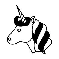 cute animal magic unicorn horn vector illustration black and white