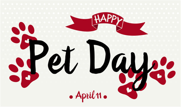 National Pet Day card or background. vector illustration.