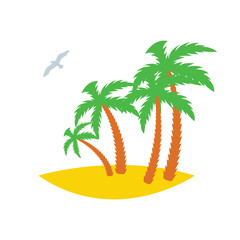 Four palms on a sandy island with a seagull passing by. Icon. Vector illustration