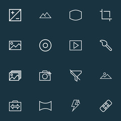 Picture icons line style set with no filter, image, dartboard and other capture