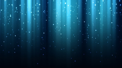 Abstract blue background with rays of light, aurora borealis, sparkles, night shining starry sky