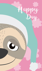 Sloth Cute animal cartoon card