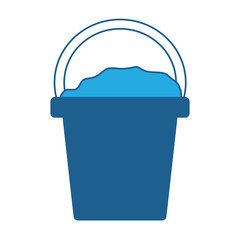 bucket with sand icon over white background, blue shading design. vector illustration
