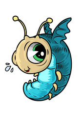 Funny flying bug character. Vector illustration