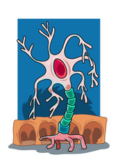 A character of a walking neuron. Vector illustration